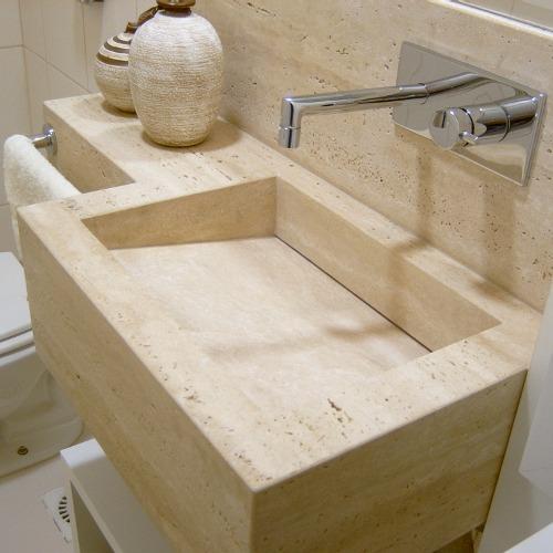 Planeta Pedras  excelência em travertino, granitos nacionais, mármores nacio -> Pia De Marmore Travertino Para Banheiro